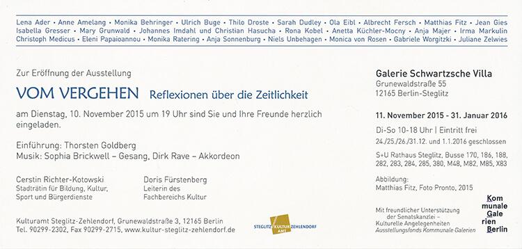 """Einladungskarte Rückseite """"Vom Vergehen"""""""